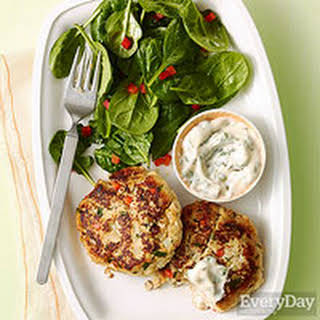 Fish Cakes with Spinach Salad.