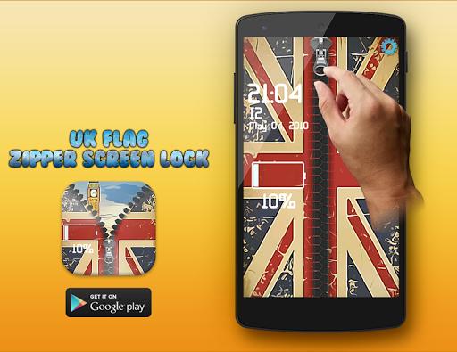 UK Flag Zipper Screenlock Free