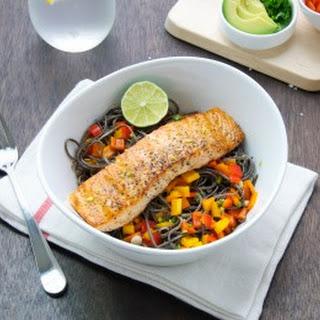 Salmon With Black Bean Pasta