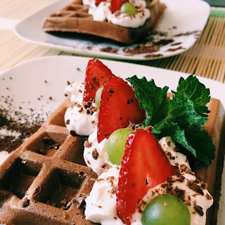 Chocolate Waffles with Fruits Recipe