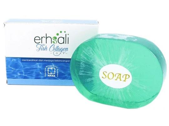 Fish Collagen Soap Erhsali NASA sabun wajah badan kolagen ikan mencerahkan memutihkan