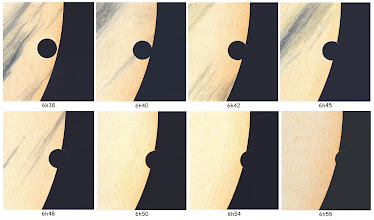 Photo: Le transit de Vénus sur le Soleil du 6 juin 2012. Vu depuis la Vendée, au ras de l'horizon et par temps de brume. C9 avec renvoi coudé et bino à 120X de Gr, filtre Astrosolar.  Le liseré de lumière qui trahit l'atmosphère de la planète est vraiment très ténu dans ces conditions. Prochain transit : 2117 !