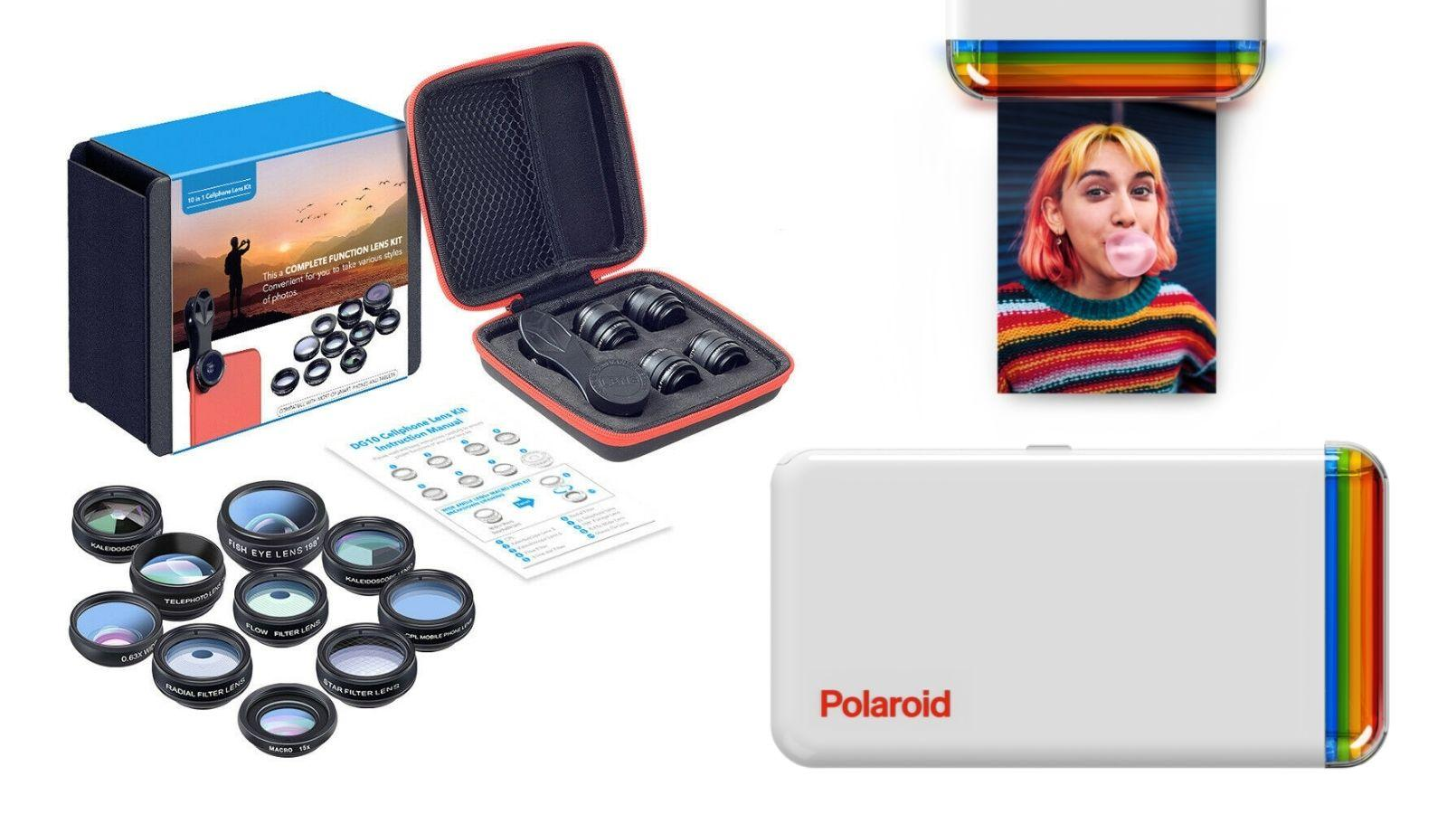 Set of small mobile camera lenses and a small white printer the size of a large mobile phone with text Polaroid written on it