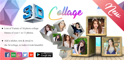 Make 3D collage photo frames with 3D Photo Collage Maker, 3D Photo Frame Editor.