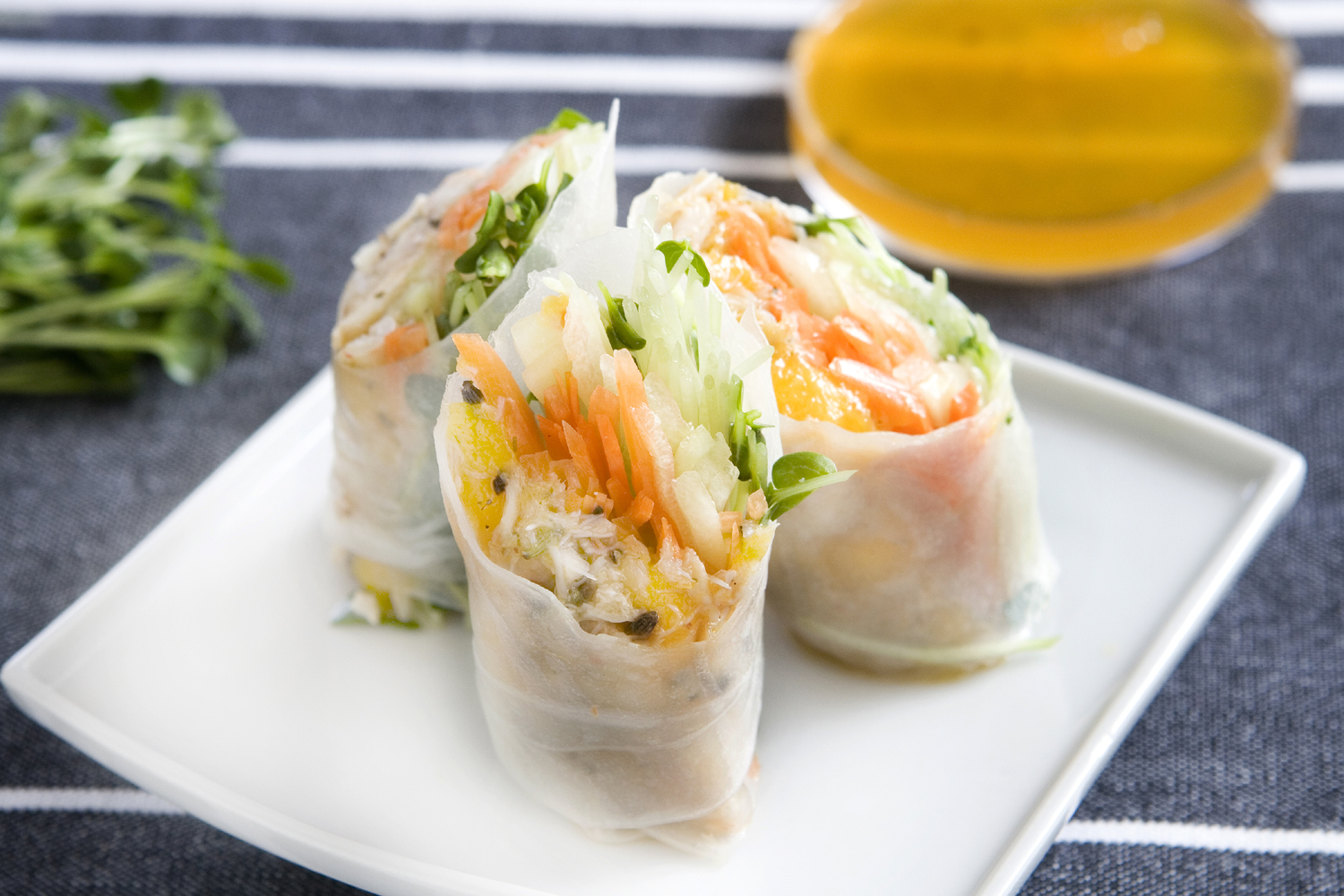 Photo: Lavender Crab Mango Rolls. Recipe by Chef Paul Lamparelli. PHOTO CREDIT: Adriana Torres Chong/The Maui Book of Lavender.