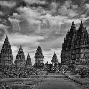 by Siew Jun Han - Buildings & Architecture Public & Historical ( temple, ancient, black and white, indonesia, monument, historical, prambanan )