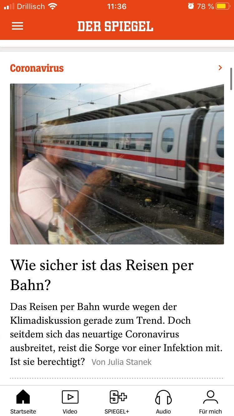 Spiegel Online App mit Labels unter den Icons.