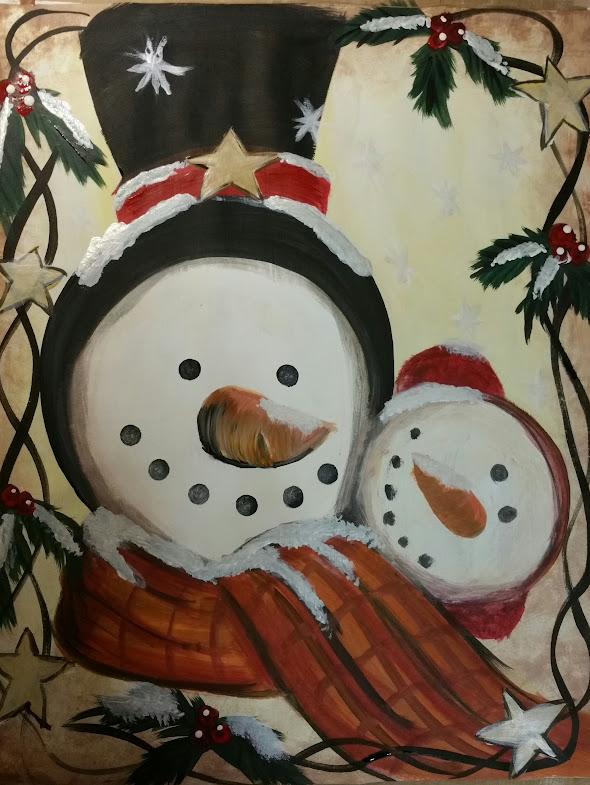 vintage snowman paint nite