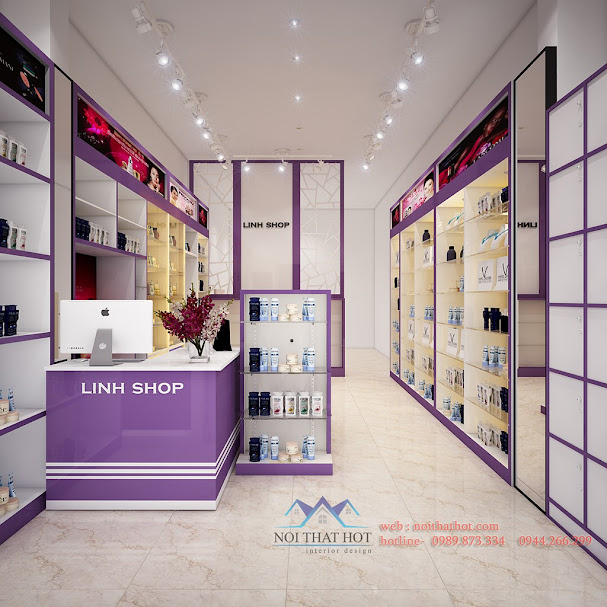 thiết kế shop mỹ phẩm màu tím