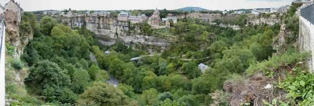 Photo: Panorama  of Bozoul - a curious town in Aveyron built on the rim and point of a steep oxbow chasm