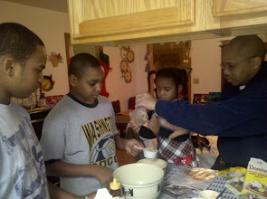 Photo: the kids cook up dessert on New Year's Eve