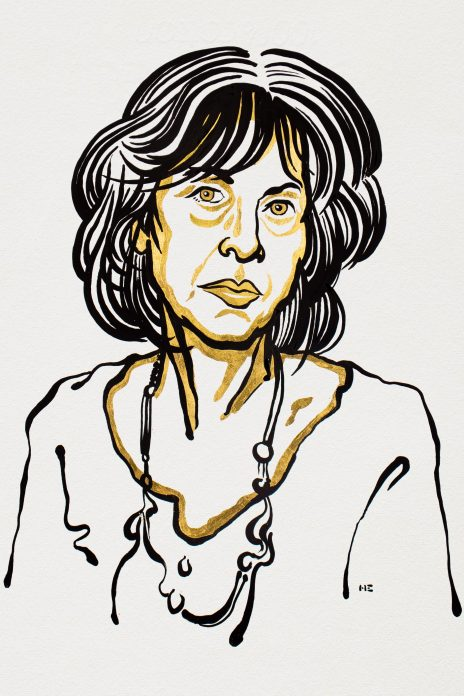 A sketch of the 2020 recipient of the Nobel Prize in Literature, Louise Glück.