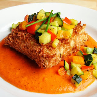 VeganMoFo 4: Wheat Bran Crusted Tempeh Loaf with Roasted Red Pepper Almond Gravy