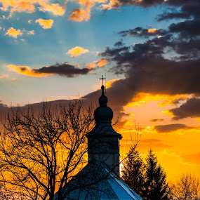 Church at the sunset by Stefan Sorean - Buildings & Architecture Public & Historical ( churh, church, sunset, night, travel )
