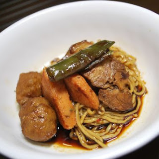 Braised Pork Belly with Spicy Noodles