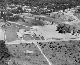 Photo: 1956 Ariel shot of St. Francis; Tappan Junior High School to the right and just a dirt road where Medford St. is today.