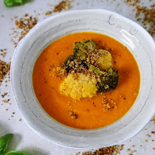 Easy Roasted Tomato Soup with Roasted Cauliflower + Broccoli.