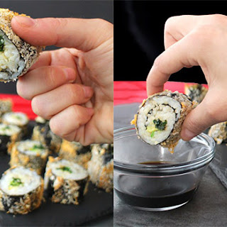 Kale Salad Sushi Rolls Made Crunchy in the Air Fryer.