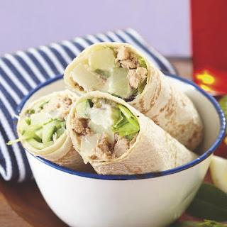 Salmon and Potato Salad Wraps.