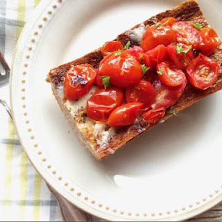 Sharp Cheddar Grilled Cheese with Broiled Tomatoes.