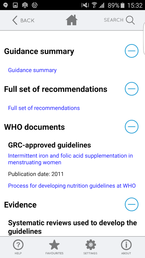 WHO eLENAmobile nutrition app- screenshot