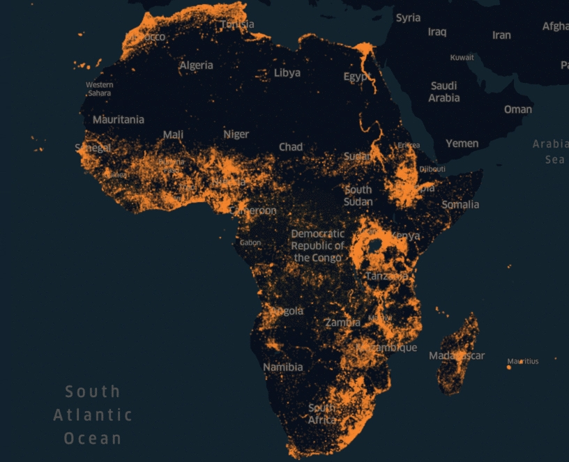 This image represents Facebook's Africa population density map.