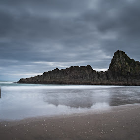 Daydreaming  by Michelle Denniston - Landscapes Beaches ( water, beaches, nature, sea, ocean, seascape, rocks, new zealand )