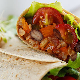 Burritos with Spanish Rice and Black Beans.