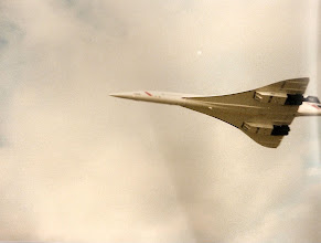Photo: Concorde G-BOADperforming a low flypast at Farnborough Airshow 1986. It's now on display at the Intrepid Sea-Air-Space Museum in NYC (http://www.intrepidmuseum.org/The-Intrepid-Experience/Exhibits/Concorde.aspx)