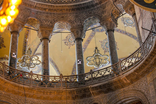 Another view of the columns adorning the interior of Hagia Sophia, built in 537 A.D.