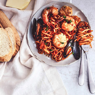Fiery One-Pot Seafood Pasta With Arrabbiata Sauce.