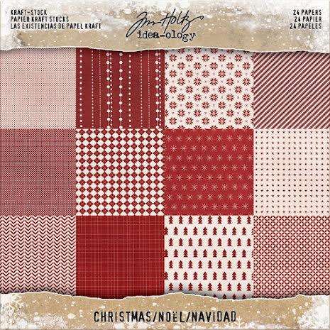 Tim Holtz Idea-Ology Paper Pad 8X8 24/Pkg - Christmas