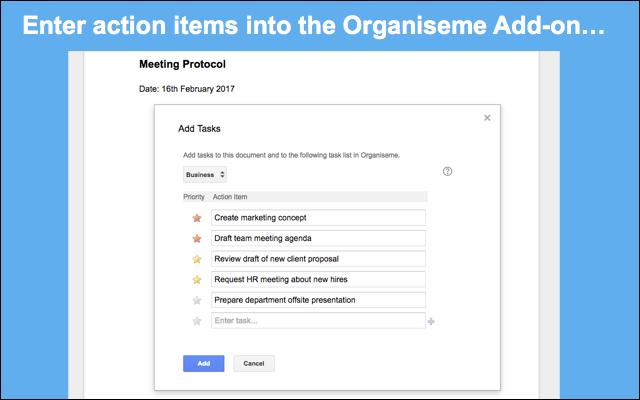 Organiseme Google Docs Addon - Google docs task list