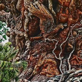 Animal Kingdom Tree of Life - Enhanced Detail by Dee Haun - Artistic Objects Other Objects ( artistic objects, animal kingdom, sculpture, detail, hrd, walt disney world, tree of life, 180510f3054ce1hetc )