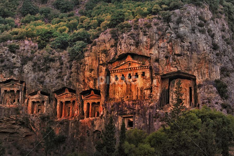 Lycian rock tombs by Michael Milfeit - Buildings & Architecture Statues & Monuments ( dalyan, königsgräber von kaunos, kaunos,  )