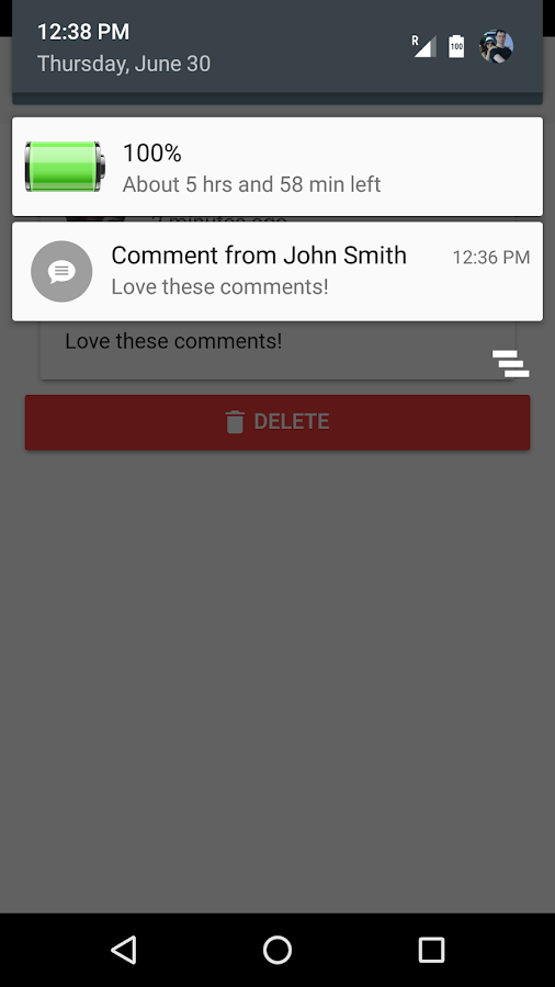 Comments Manager- screenshot