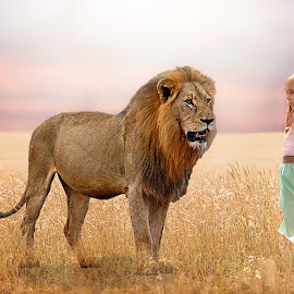 Sienna with her protector by Love Time - Digital Art People ( child, lion, girl, digital art, animal,  )
