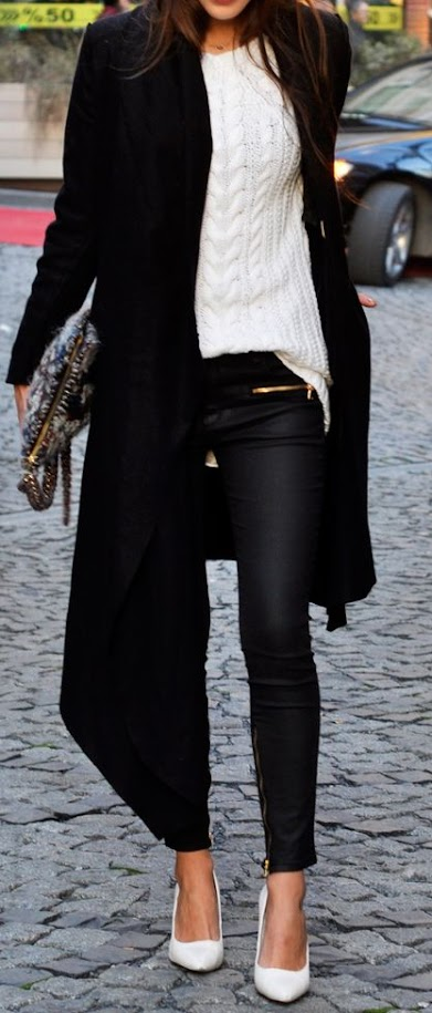 Classic black and white fall look with white knitted sweater, black coat, pants and white pumps for Cool Winter women