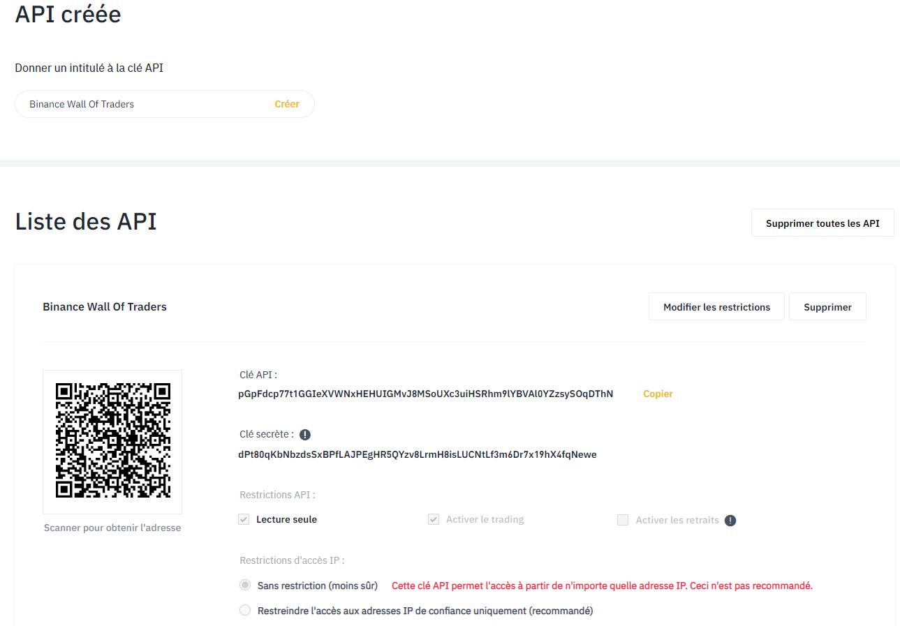 Création d'une clé API sur Binance