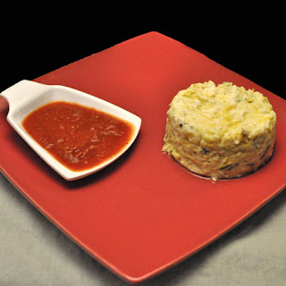 Zucchini Timbales with Pimiento Sauce.