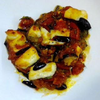 Aegean Oven-roasted Aubergines With Tomato And Halloumi