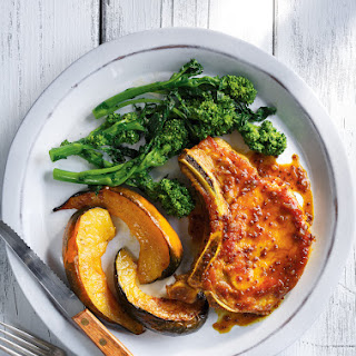 Curried Pork Chops with Roasted Squash.