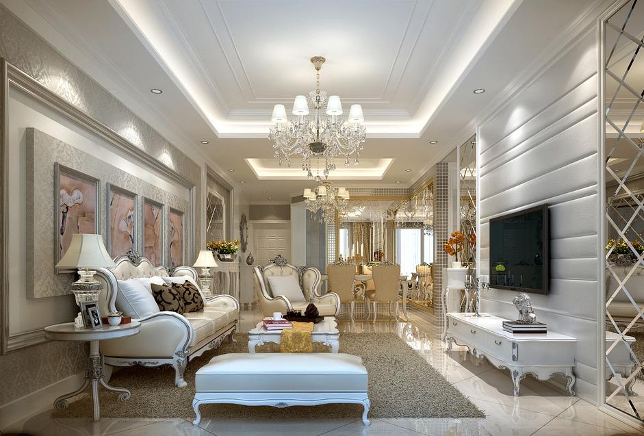 Phòng khách tân cổ điển kết hợp màu sắc nổi bật