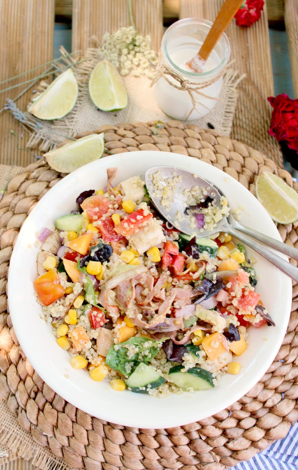 Grilled Chicken Quinoa Rainbow Salad with Lime Avocado Dressing - the ...