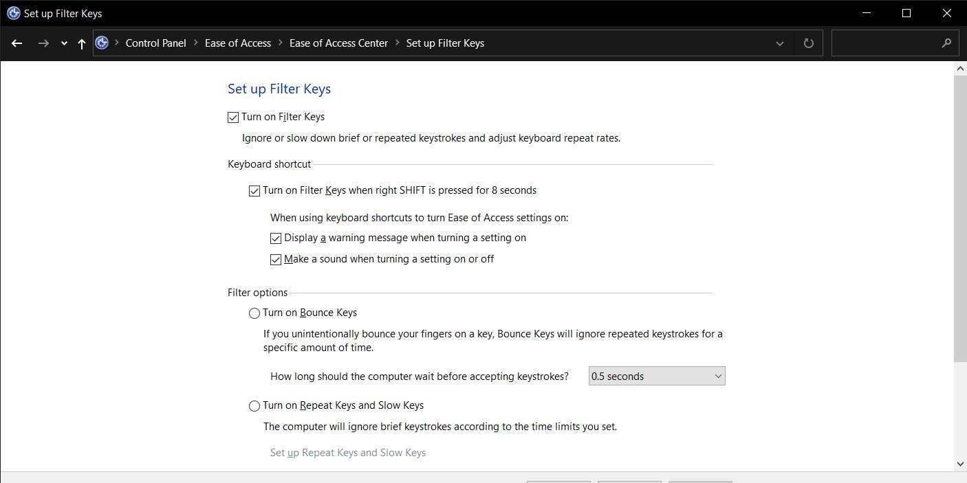 click on the Set up Filter Keys option.