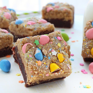 Peanut Butter Cookie Dough Topped Brownies