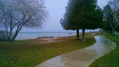 Photo: The Straits of Mackinac as seen from in front of Old Mackinac Point Lighthouse in Mackinaw City. Michigan.