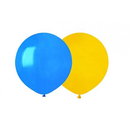 Ballongkombo helrunda 48 cm, blå & gul
