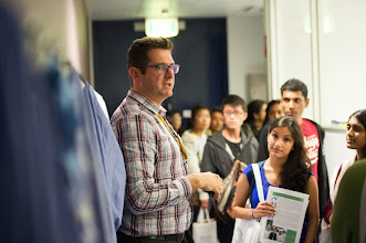 Photo: Dr Justin Hamilton taking students on a lab tour of the ACBD facilities