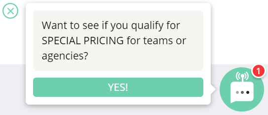 web chat examples - pricing page optimization